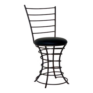 Portmanteau Studio Project | Vintage Postmodern Spiral Wrought Iron + Leather Chair, Circa 1990s For Sale