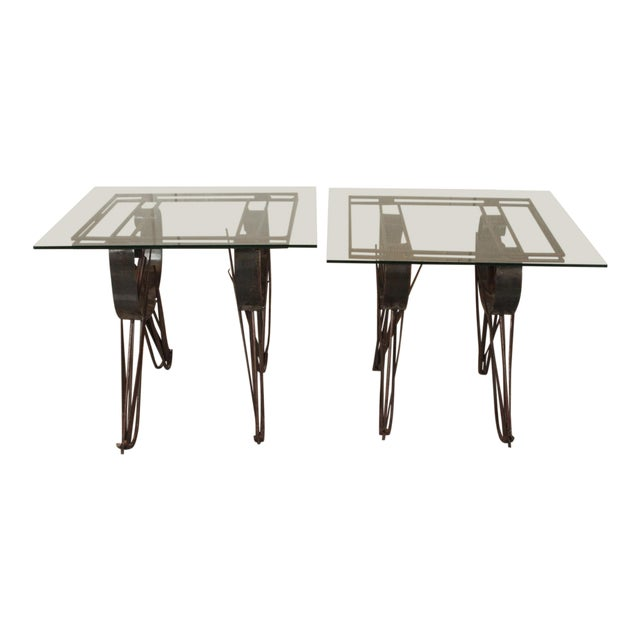Modern Handmade Wrought Iron Side Tables For Sale
