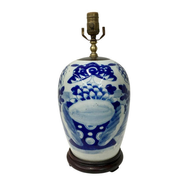 Late 19th Century Chinoiserie Celadon Blue & White Porcelain Table Lamp For Sale