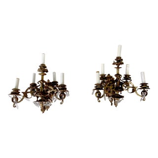English Rosebud Gilt Bronze and Crystal Sconces With Five Arms, Circa 1800 - a Pair For Sale