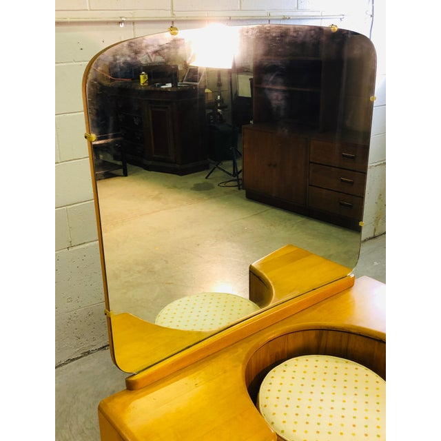 Brown Heywood Wakefield Vanity & Mirror With Stool Set For Sale - Image 8 of 13
