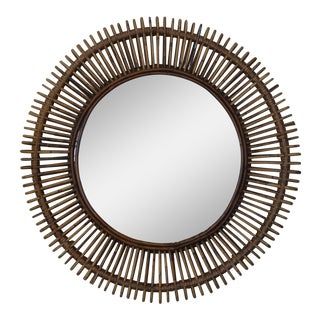 "Contemporary ""Oculus"" Round Rattan Mirrors - a Pair Preview"