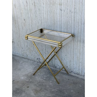 Mid-Century Modern Italian Tray Table With Brass Legs by Montagnani Preview