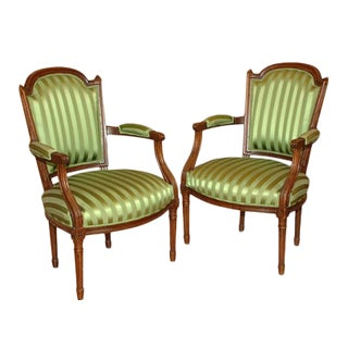 Mid 18th Century Emerald Fauteuils - a Pair For Sale
