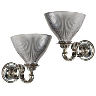A Pair Of Silver Plated Bronze Victorian Wall Sconces