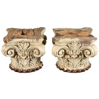 Pair of Ivory Painted Capitals From 19th Century Italy For Sale