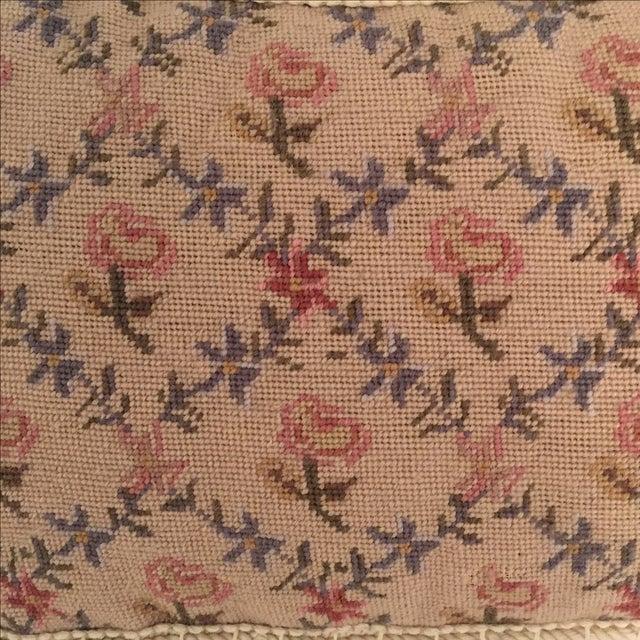 Needlepoint Pillow, Blue, Pink, Creme - Image 4 of 5
