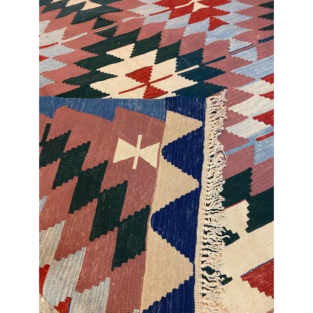 Turkish Vintage Handwoven Wool Flat Weave Fringed Turkish Rug For Sale - Image 3 of 6