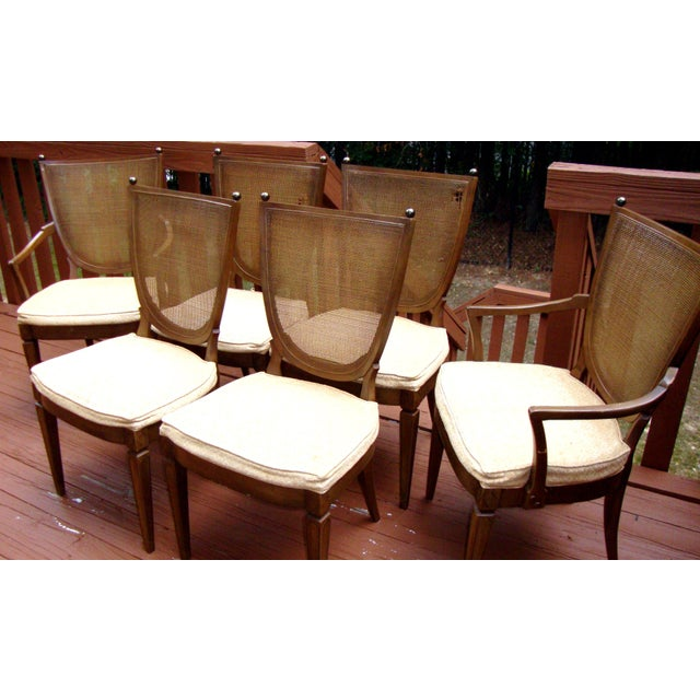 Thomasville Italian Cane Brass Dining Chairs - 6 - Image 8 of 11