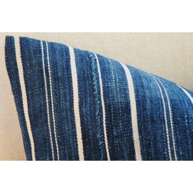 Woven Indigo Blue Stripe Batik Down Feather Pillow - Image 5 of 6