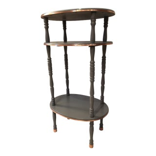 Hollywood Regency Tiered Oval Accent Table With Copper Trim For Sale