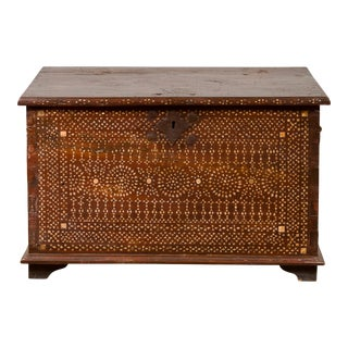 Early 20th Century Wooden Blanket Chest from Jakarta with Mother of Pearl Inlay For Sale
