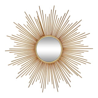 Mid-Century Modern Sunburst Convex Mirror For Sale