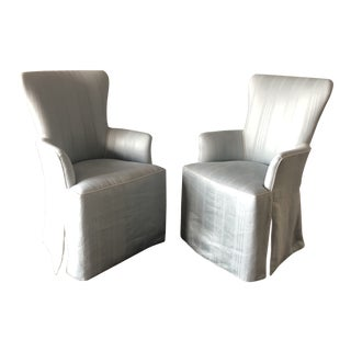 Nancy Corzine Linen Hostess Chairs- A Pair For Sale