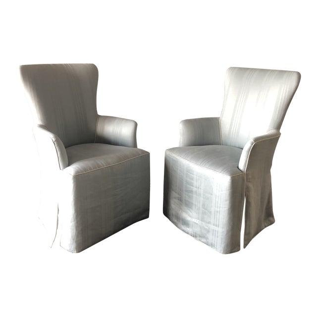 Nancy Corzine Linen Hostess Chairs- A Pair For Sale