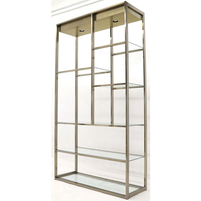 Metal Brass and Glass Lighted Étagère Vitrine For Sale - Image 7 of 13