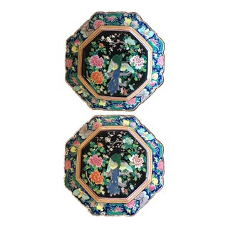 Large Octagonal Hand-Painted Porcelain Peacock Platters - a Pair For Sale