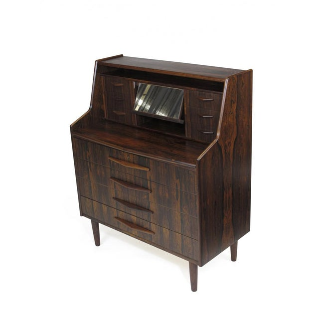 Glass Scandinavian Modern Rosewood Secretary Desk For Sale - Image 7 of 9