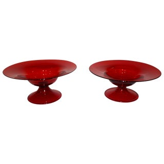 Salviati 1940s Italian Antique Ruby Red Blown Murano Glass Compote Bowls - a Pair For Sale
