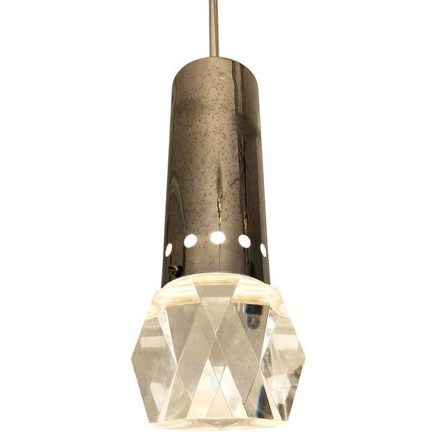 Stilnovo Mid 20th Century Facted Lucite Shade Stilnovo Pendant For Sale - Image 4 of 7