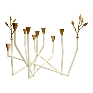 Contemporary Arteriors White and Gold Daphne Candle Holder For Sale