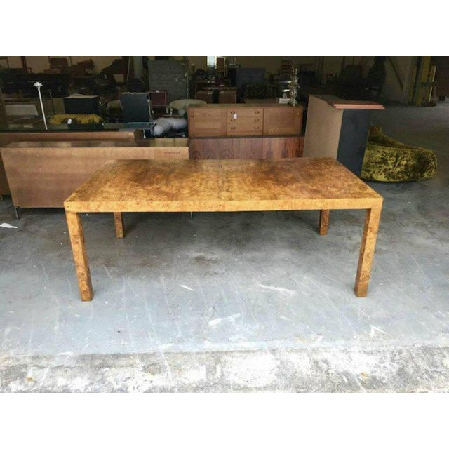 Milo Baughman for Directional Burl Wood Parsons Dining Table with Two Boards - Image 4 of 10