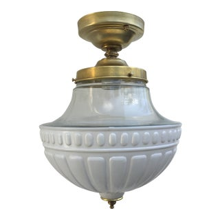 Vintage Flushmount Fixture With Schoolhouse Shade For Sale