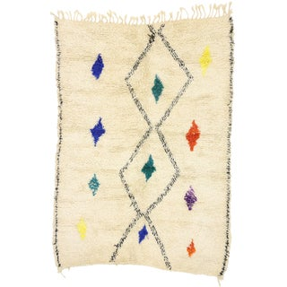Contemporary Berber Moroccan Azilal Rug-4′8″ × 6′4″ For Sale
