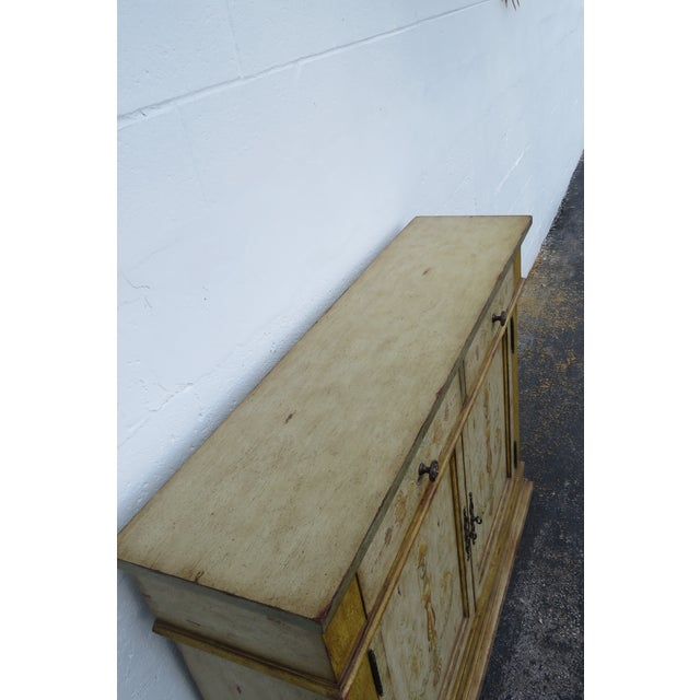 French Shabby Shic Painted Distressed Tall Sideboard Buffet Narrow Console 2154 For Sale - Image 9 of 13
