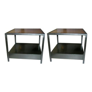 Michael Taylor for Baker Furniture Square Lamp Tables - a Pair For Sale