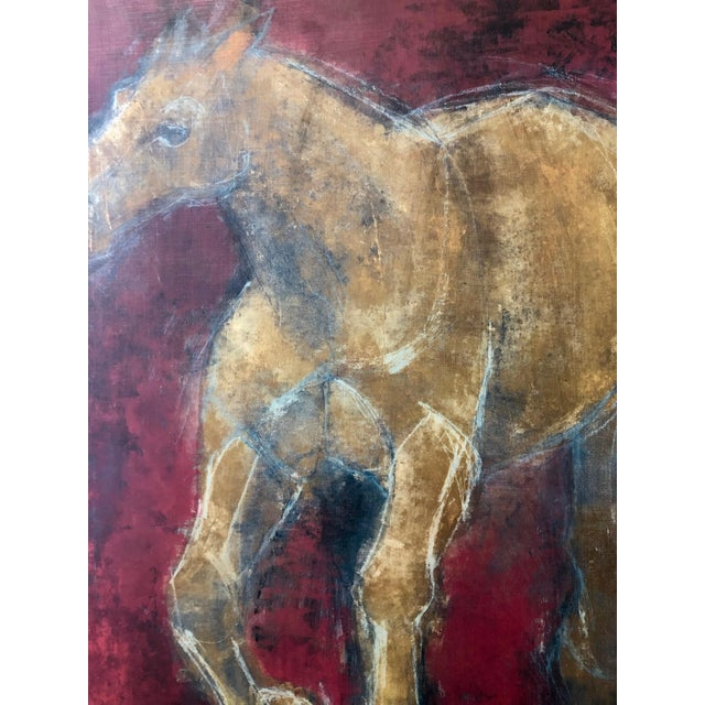 Pink Figurative Reverse-Color Framed Hearting Horses Prints - a Pair For Sale - Image 8 of 12