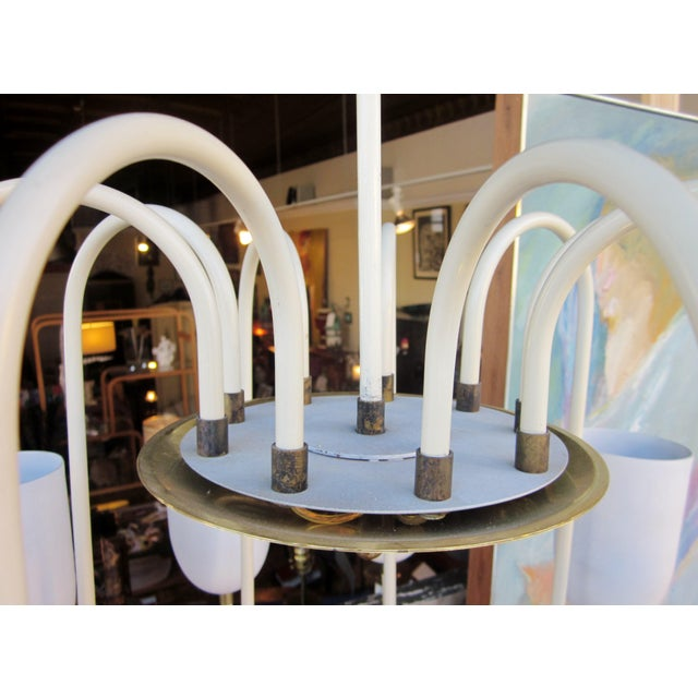 Metal 1950s Mid-Century Modern Matte White 9-Arm Curvilinear Chandelier For Sale - Image 7 of 12