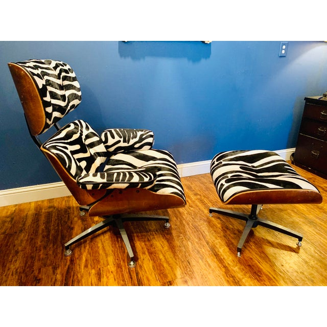 Eames Modern Custom Zebra Hide Eames Style Lounge Chair and Ottoman For Sale - Image 4 of 12