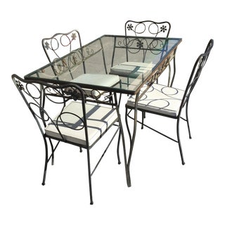 Vintage Wrought Iron Patio Table & Chairs