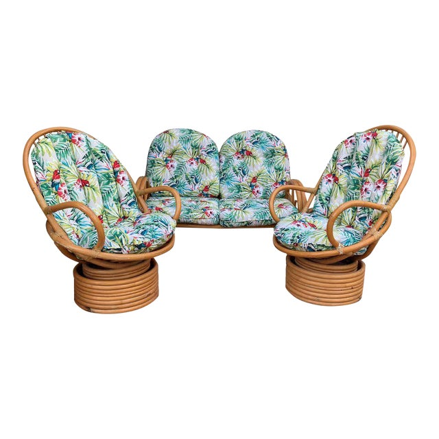 Italian Mid-Century Modern Bamboo Set of Lounge Patio With Settee and Rocking For Sale