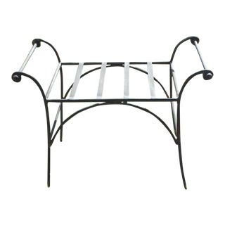 1960s Vintage Wrought Iron Bench For Sale