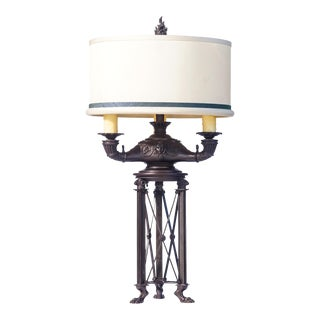20th C. French Empire Bronze Lamp For Sale