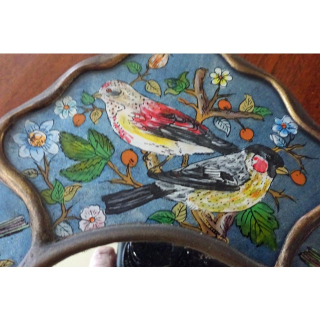 Reverse Glass Hand-Painted Bird Mirror For Sale - Image 4 of 9