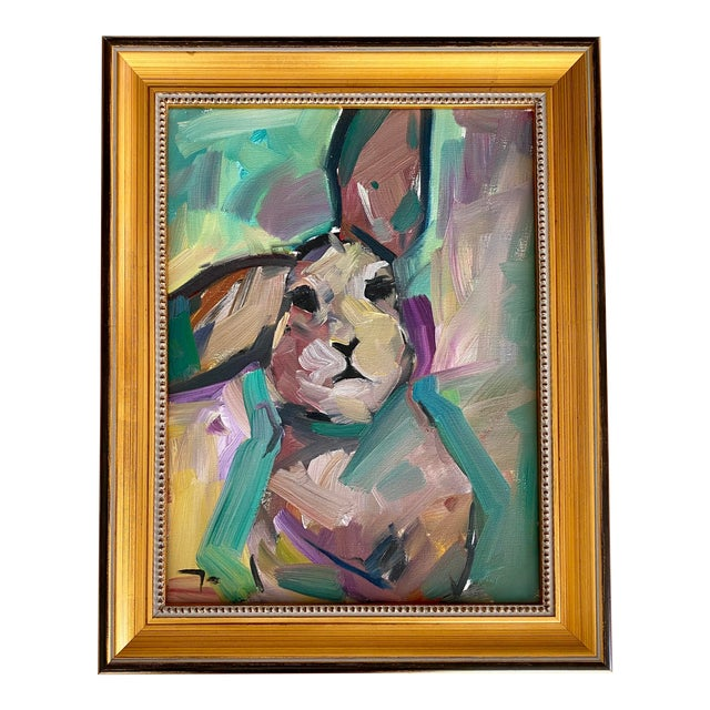 "Original Impressionistic Oil on Canvas of ""The Bunny"" by Jose Trujillo For Sale"