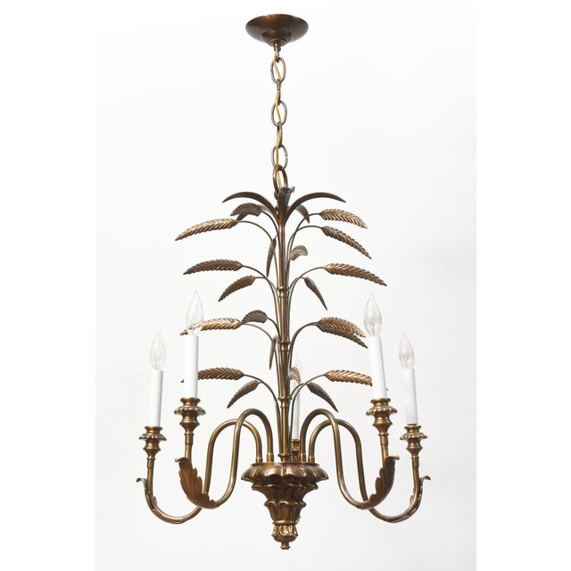 Five light brass chandelier. New wiring, ready to hang. Contemporary.