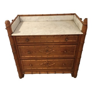 1900s Boho Chic Faux Bamboo Chest of Drawers For Sale