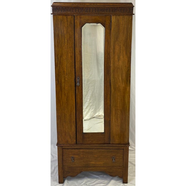 Antique English Hand Carved Walnut Hall Wardrobe For Sale - Image 10 of 10