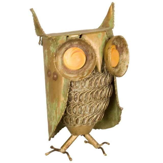 Brass Curtis Jere Inspired Owl Sculpture For Sale - Image 7 of 7