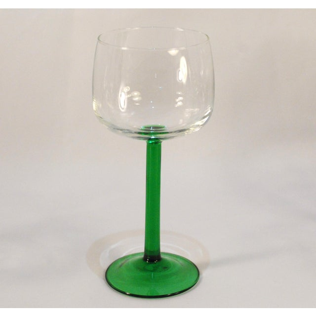 Emerald Green Cristal d'Arques Wine Glasses - Set of 6 - Image 4 of 5