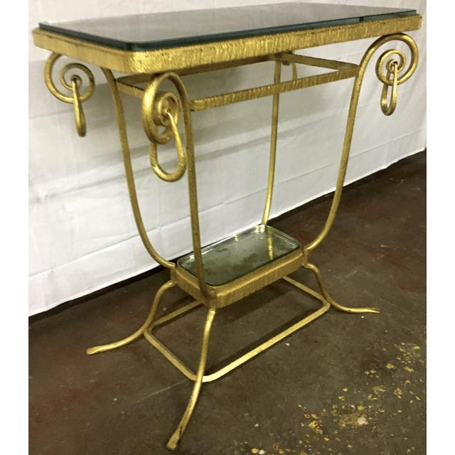 Sue et Mare refined pair of 2 tier consoles or pedestal in gold leaf wrought iron.