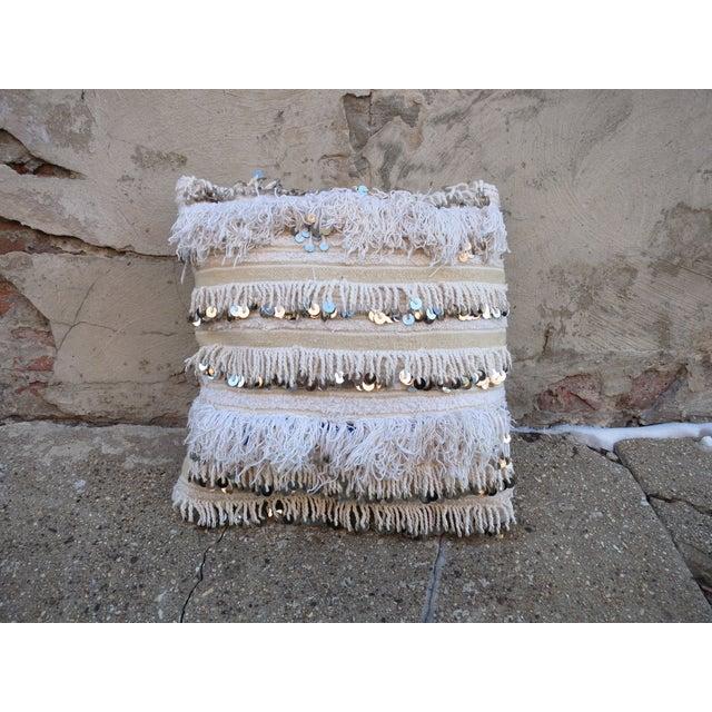 Moroccan Handira Wedding Blanket Throw Pillow - Image 2 of 3
