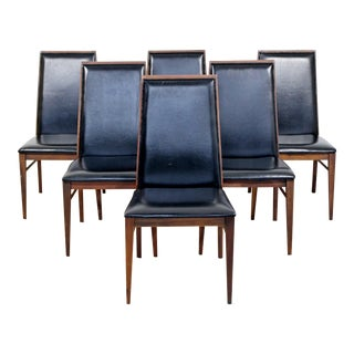 1960s Mid-Century Modern Milo Baughman for Dillingham Black Leather Dining Chairs - Set of 6