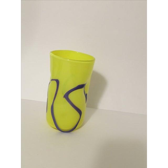 Memphis-Style Handblown Art Glass Vase - Image 3 of 7