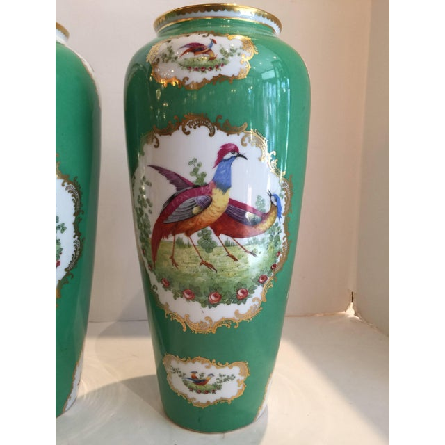 Traditional 19th Century Victorian Porcelain Chelsea Bird Pattern Vases - a Pair For Sale - Image 3 of 9