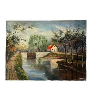"Vintage Farmhouse Scene, Oil on Canvas - 30"" X 40"" For Sale"